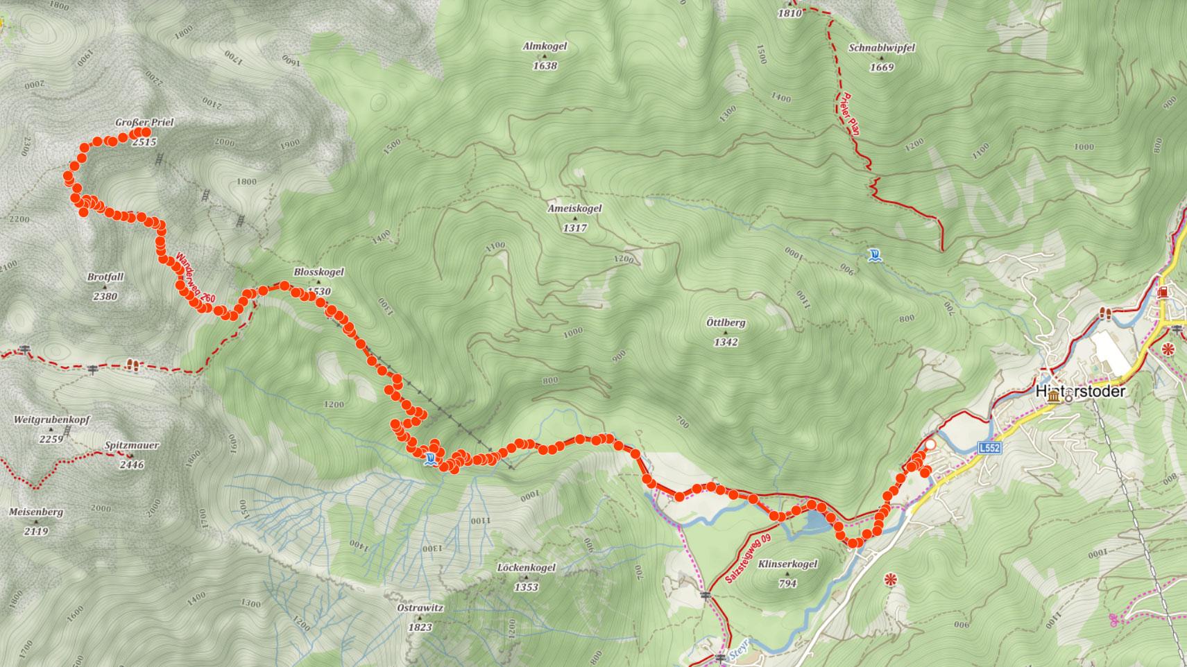 Výstupová trasa na Grosser Priel v Totes Gebirge
