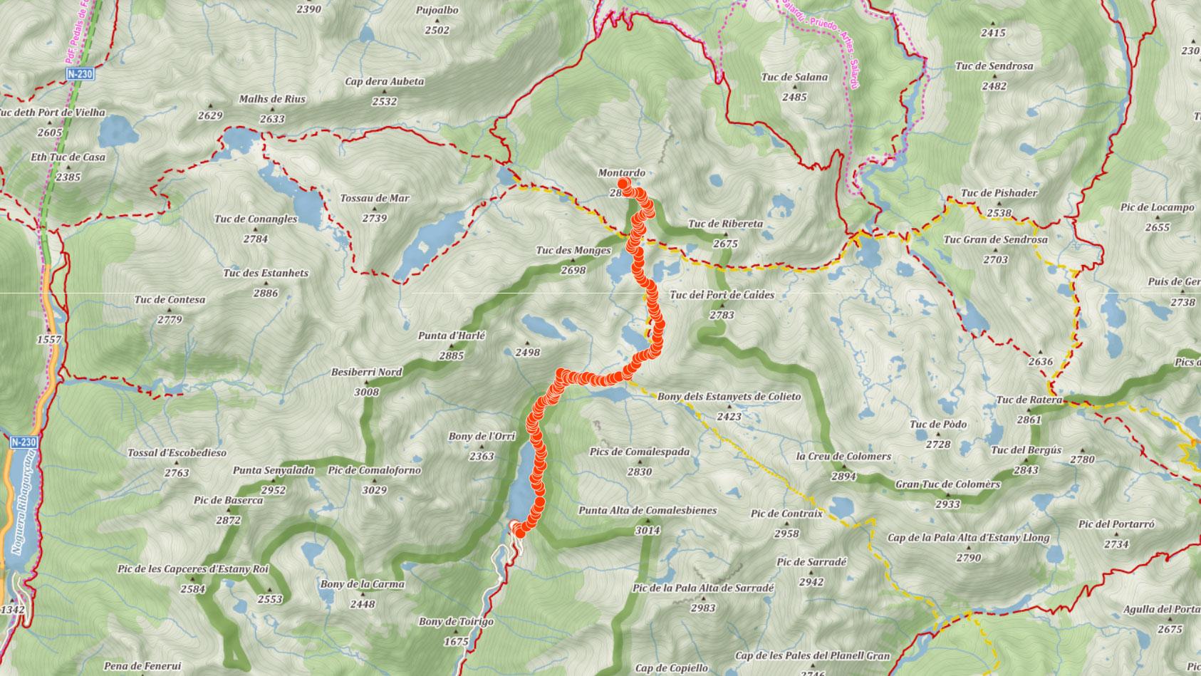 Výstupová trasa na Montardo v Pyrenejích