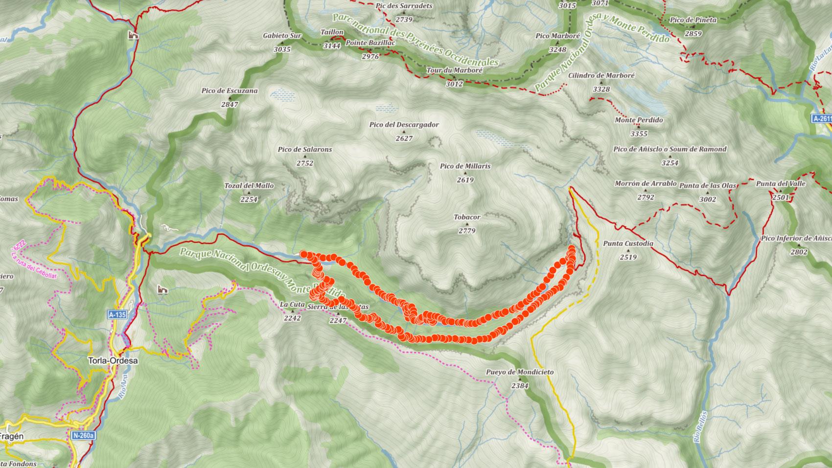 Popisovaná trasa údolím Ordesa po stezce Faja de Pelay