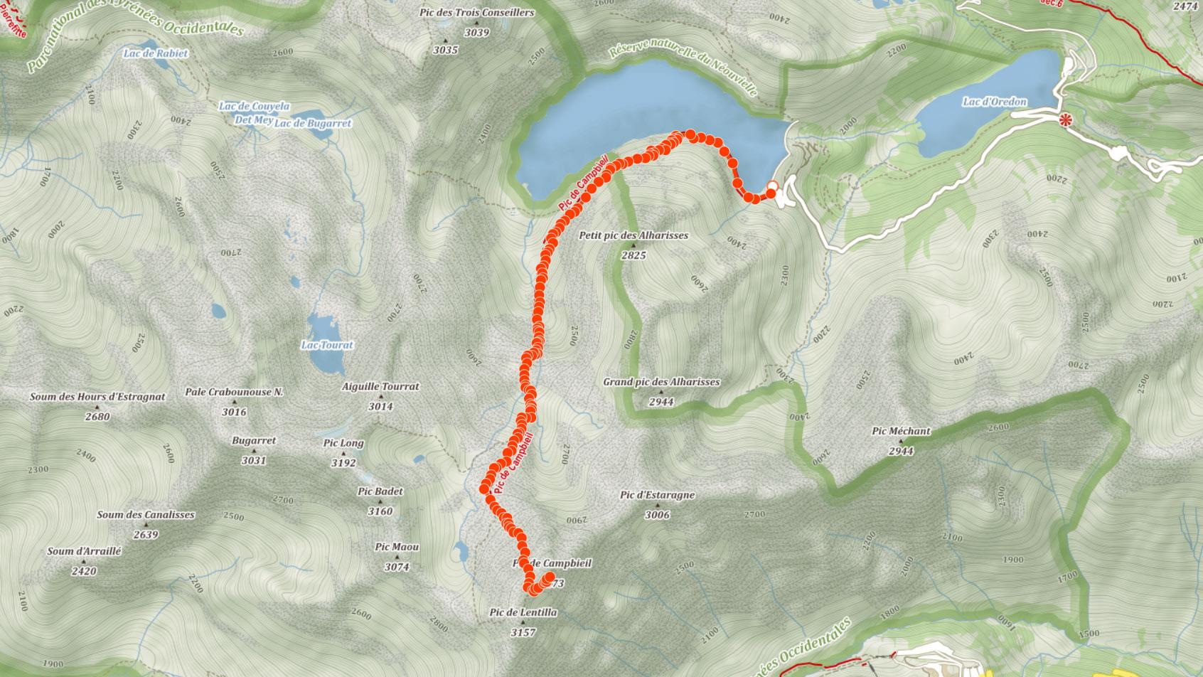 Výstupová trasa na francouzský Pic de Campbieil v Pyrenejích