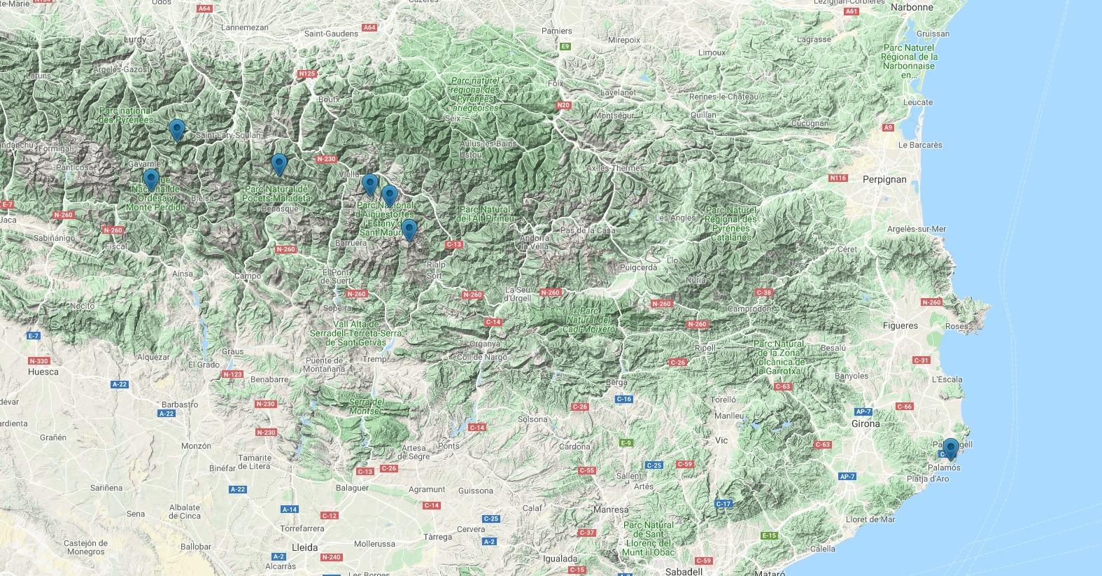 Uskutečněné výlety v Pyrenejích