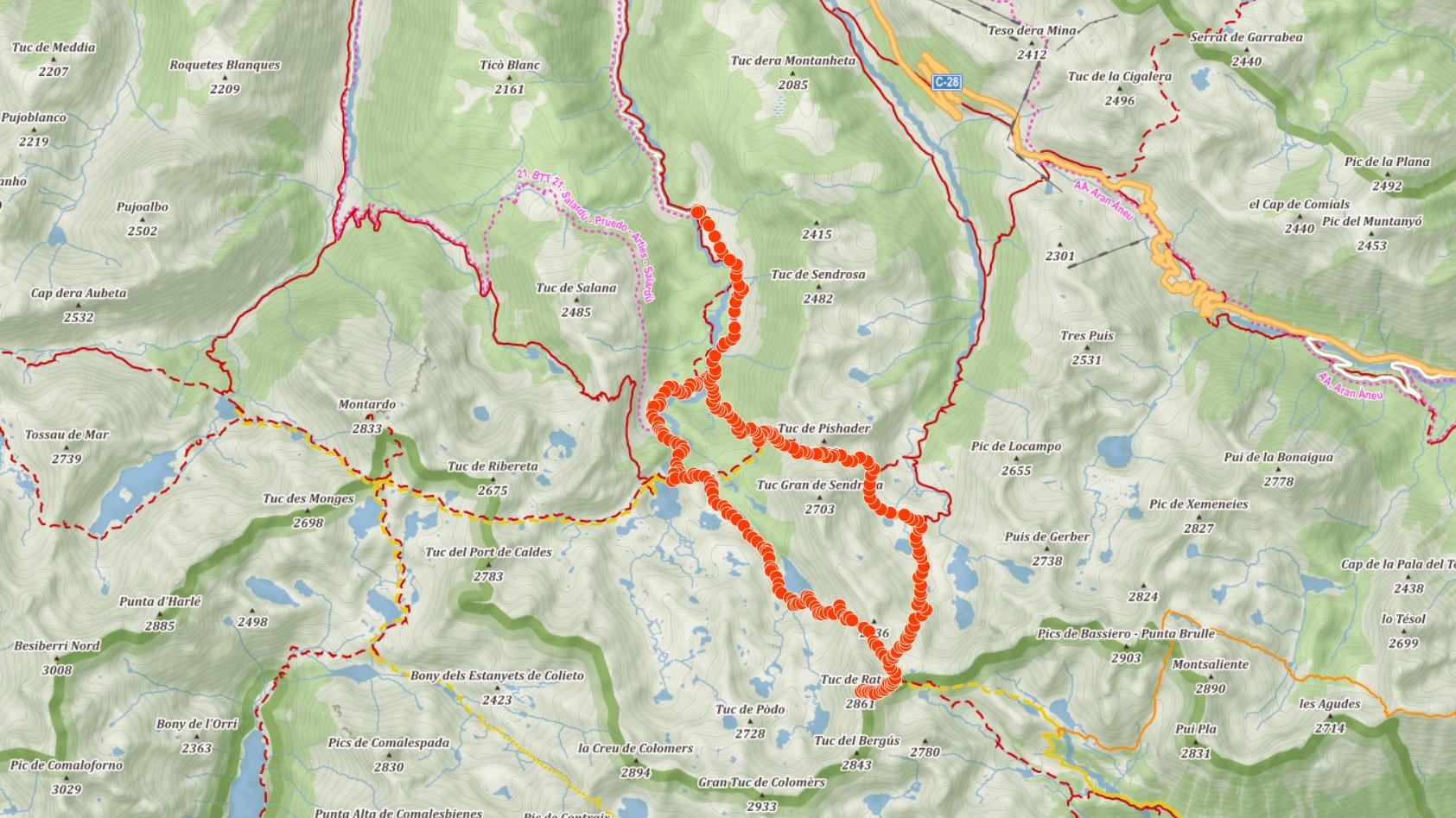 Popisovaná okružní trasa ve španělských Pyrenejích s výstupem na Tuc de Ratera