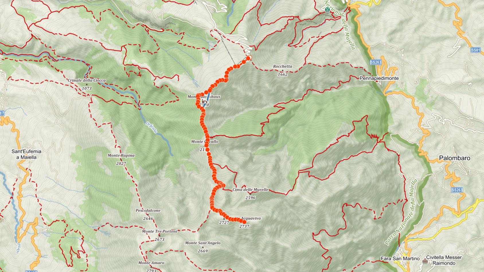Výstupová trasa na Monte Acquaviva v Apeninách