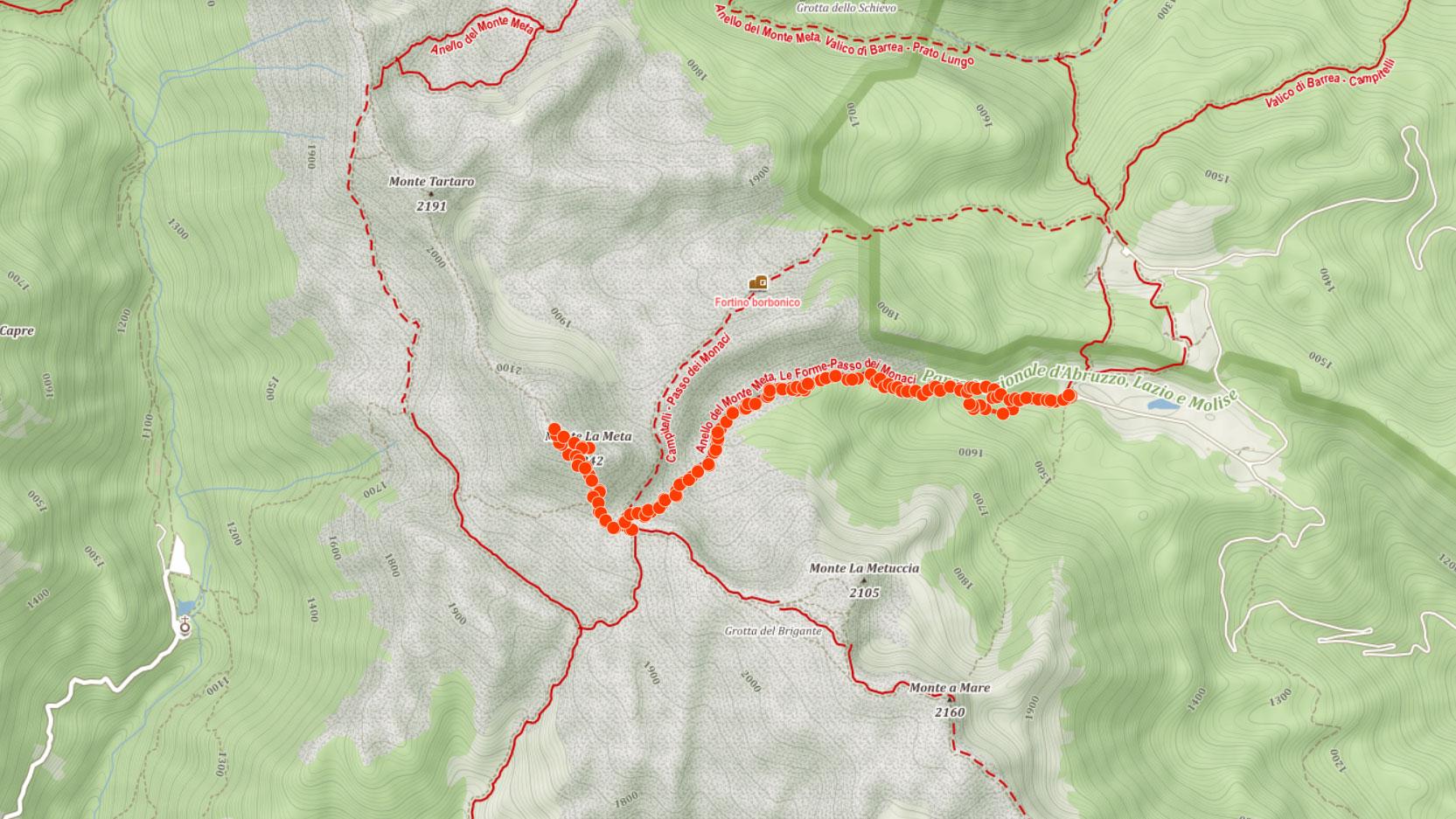 Výstupová trasa na Monte La Meta v Apeninách