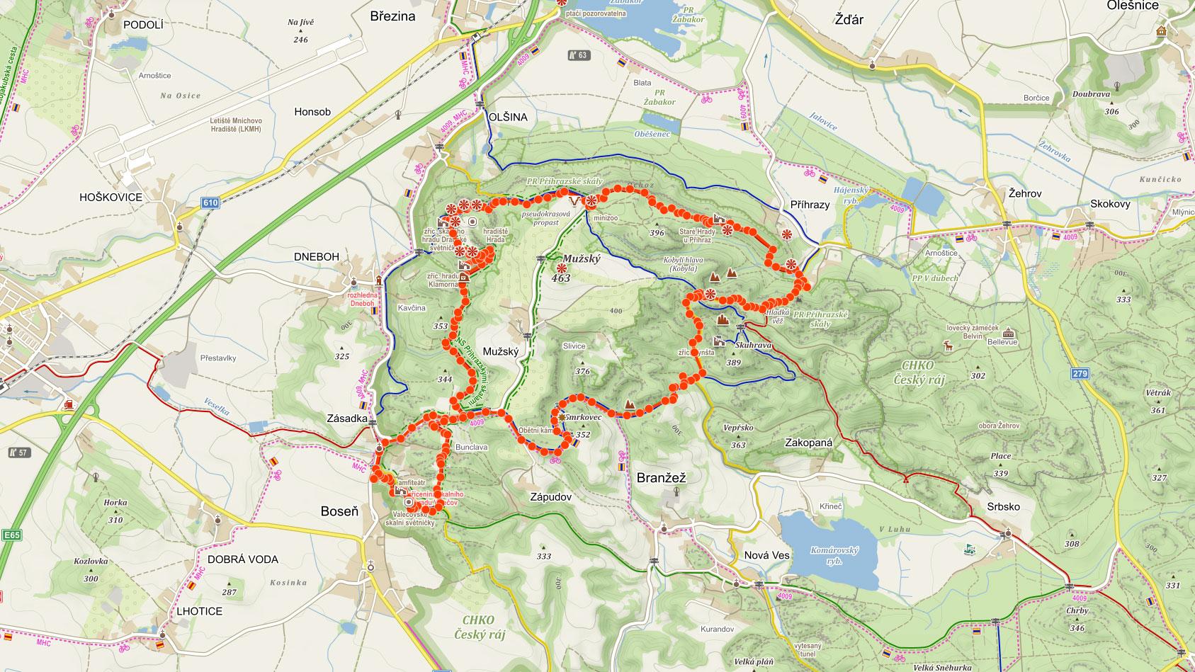 Okružní trasa Příhrazskými skalami přes Drábské světničky a hrad Valečov