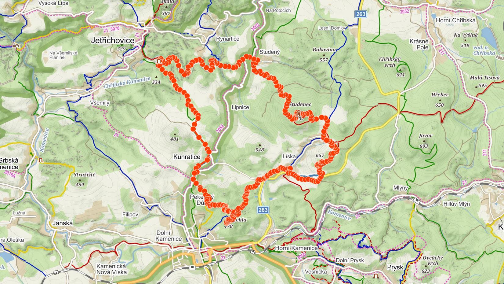 Trasa na Studenec přes údolí Kamenice, Jehlu a Zlatý vrch