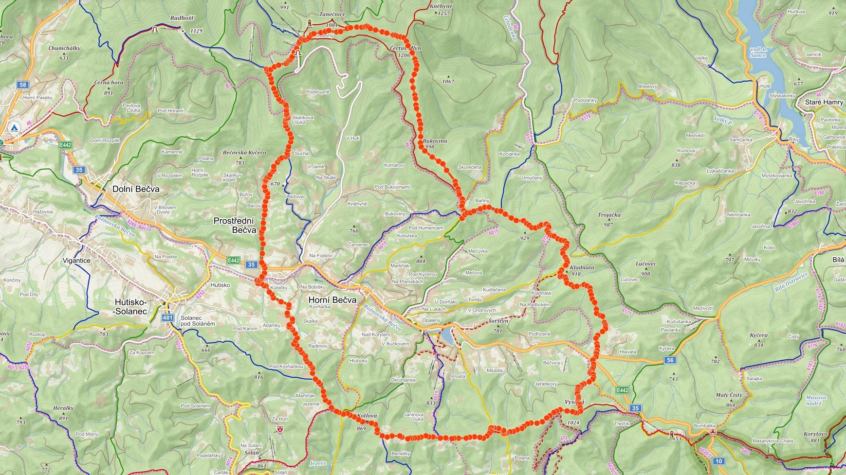 Okružní trasa přes Pustevny, Čertův Mlýn a Vysokou v Beskydech