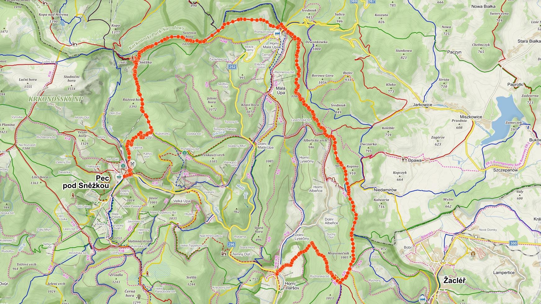 Trasa popisovaného výletu v Krkonoších na Sněžku na mapě