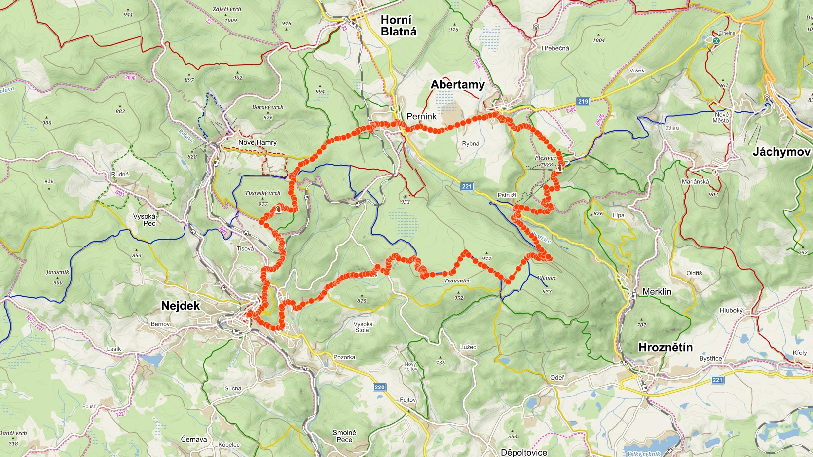 Trasa popisovaného výletu na Plešivec a rozhlednu Pajndl v Krušných horách