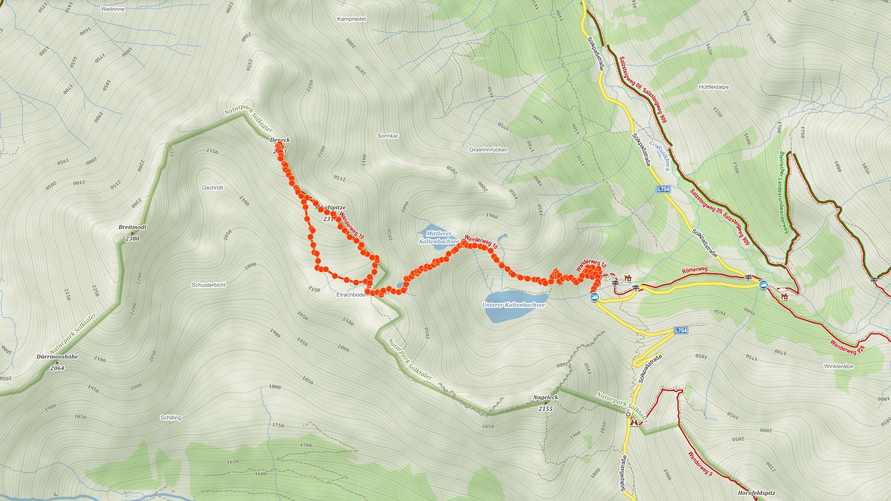 Trasa popisovaného výletu na Deneck v Nízkých Taurách v Rakousku