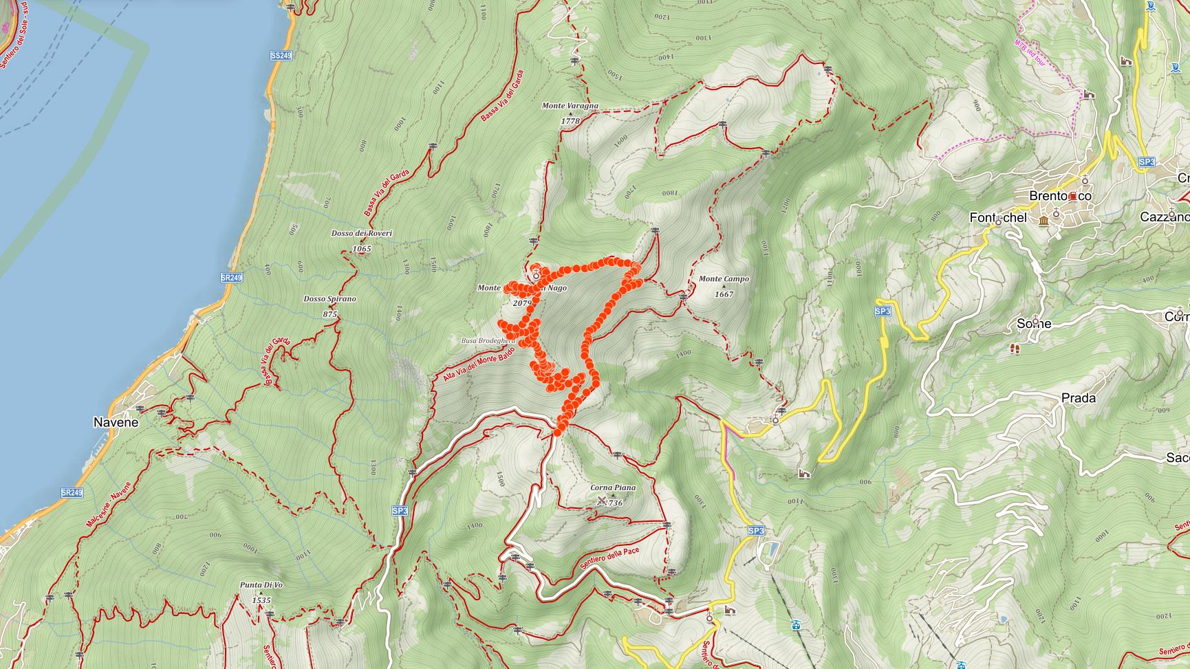 Trasa popisovaného výletu na Monte Altissimo di Nago nad Lago di Garda v Itálii