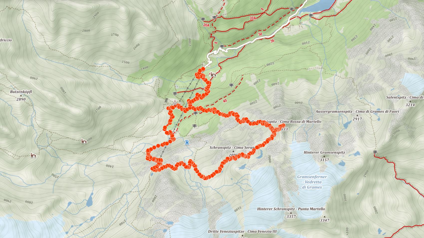 Trasa popisovaného výletu v italských Ortles s výstupem na Cima Rossa di Martello