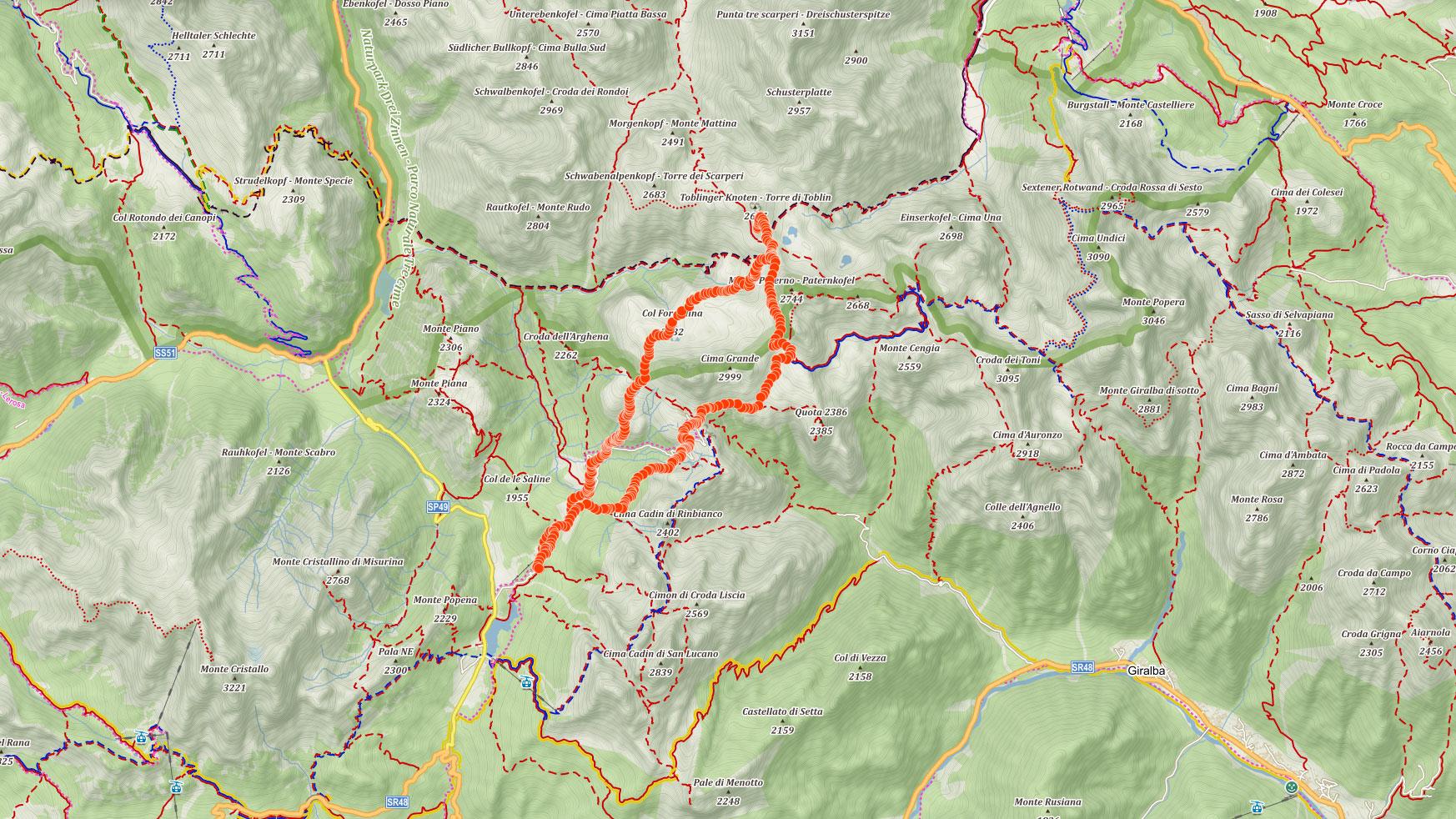 Trasa popisovaného výletu kolem Tre Cime di Lavaredo (Drei Zinnen) v italských Dolomitech