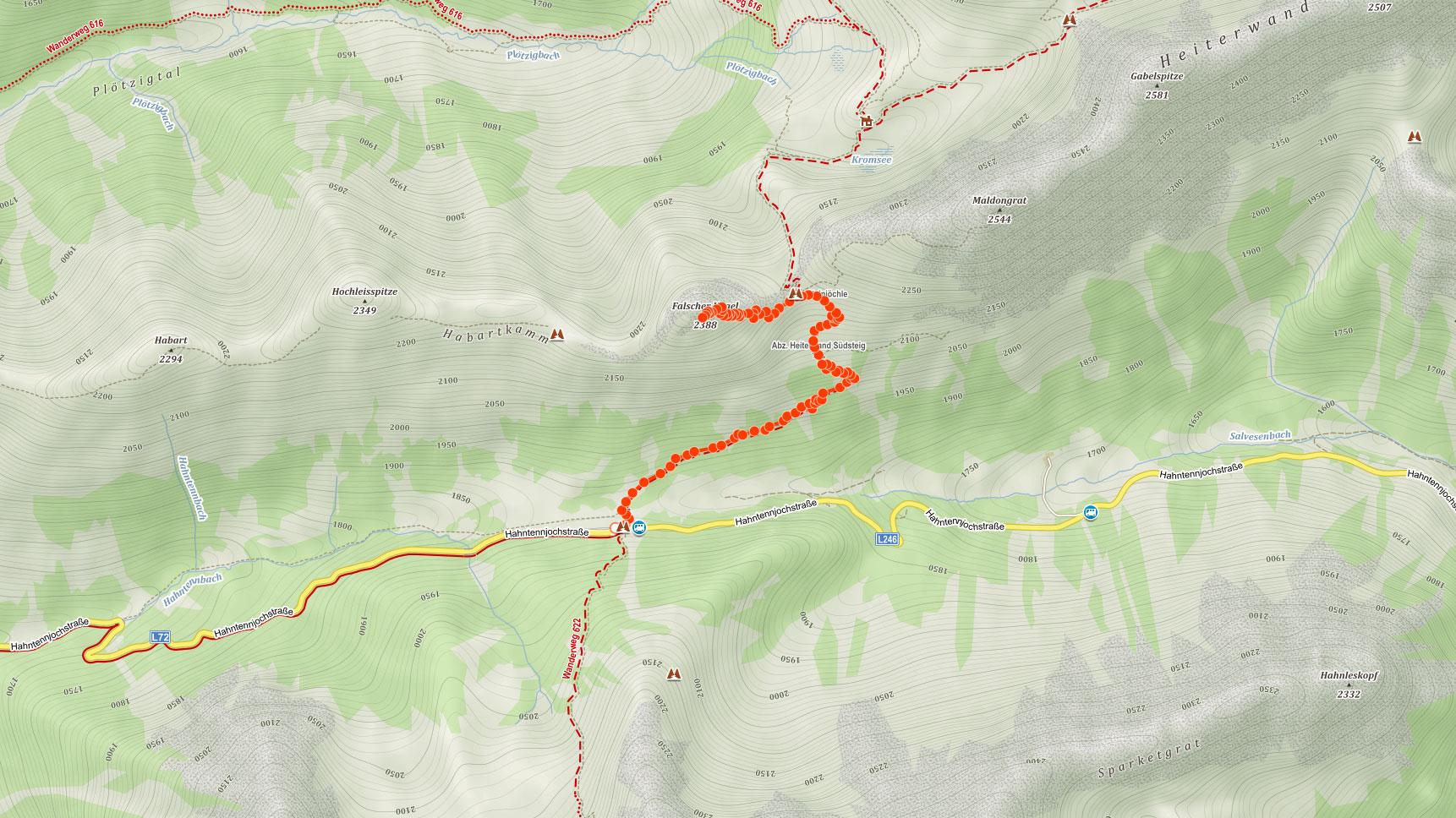Trasa popisovaného výletu na Falscher Kogel v Lechtalských Alpách v Rakousku