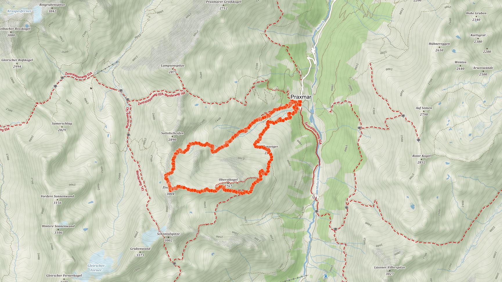 Trasa popisovaného výletu na Zischgeles v Stubaiských Alpách v Rakousku