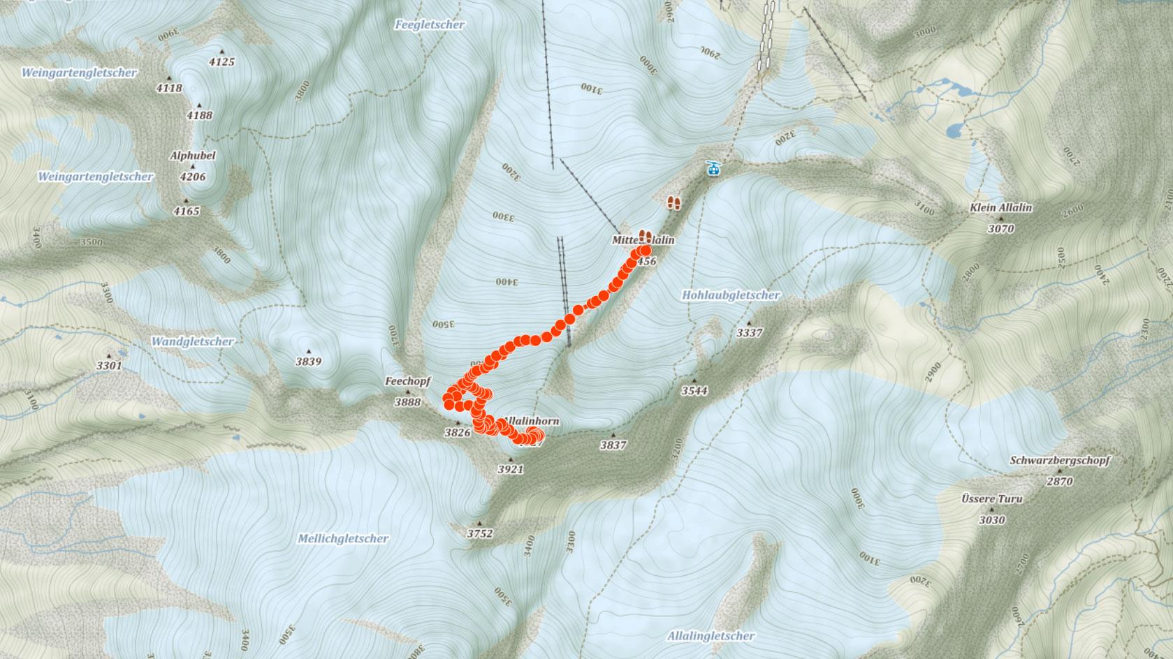 Normální výstupová trasa na Allalinhorn ve švýcarských Alpách