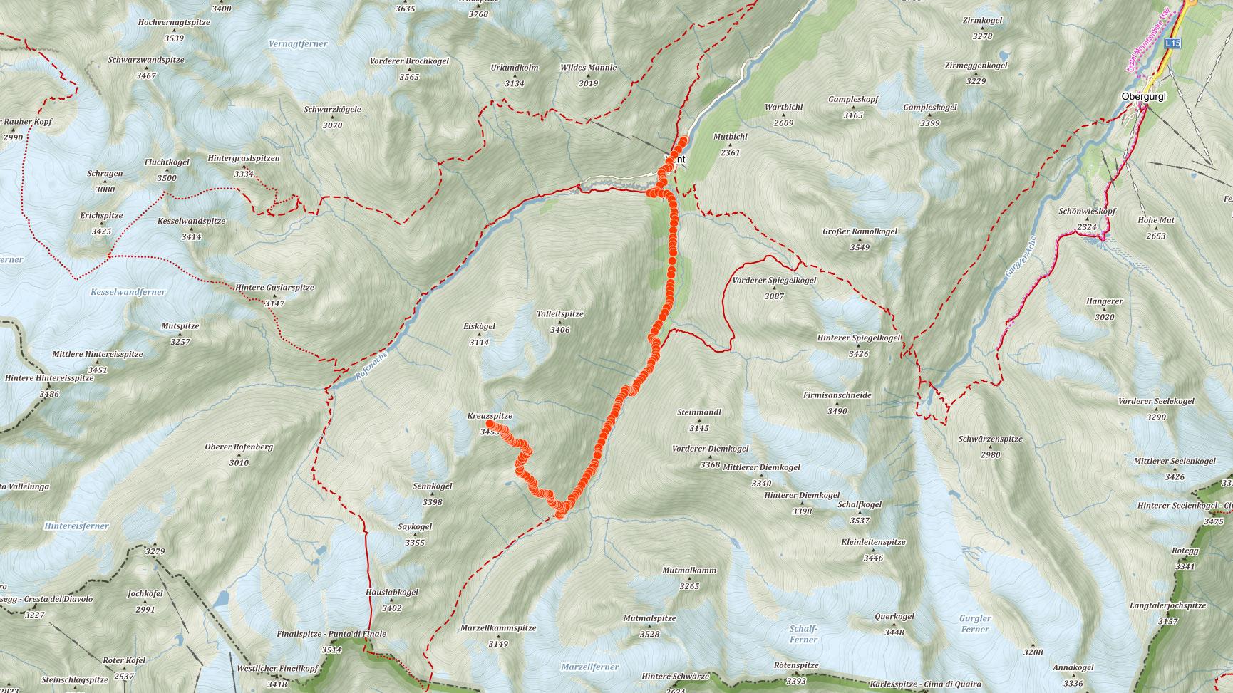 Trasa výstupu na Kreuzspitze v rakouských Alpách