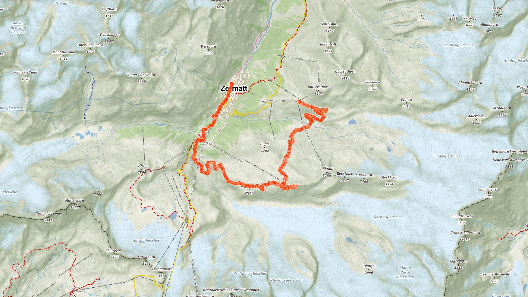 Mapa výletu kolem Matterhornu po treku pěti jezer a na Gornergrat ve Švýcarsku