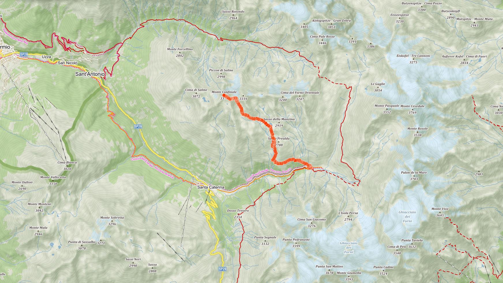 Mapa výstupu na Monte Confinale v Ortles v italských Alpách