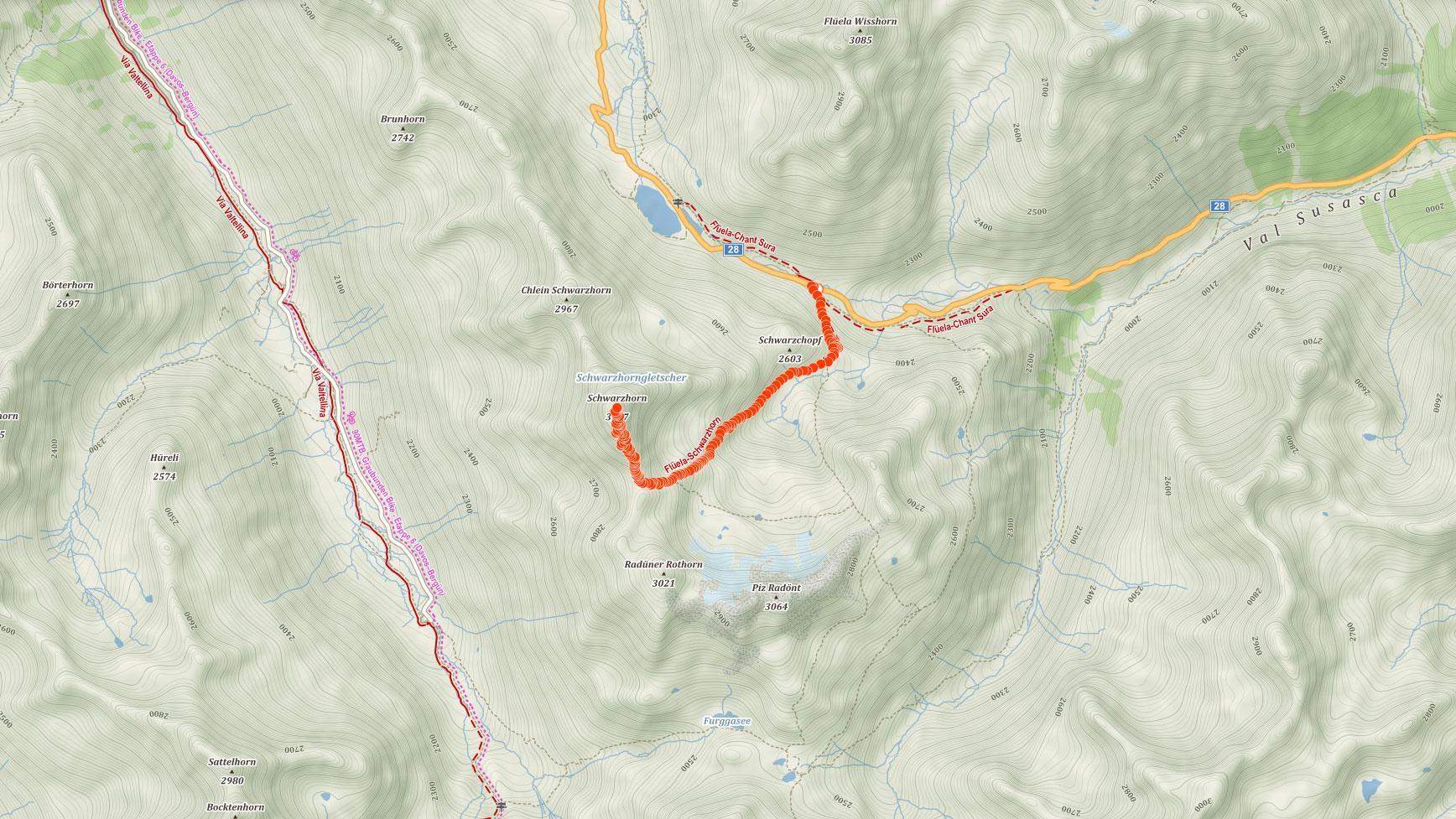 Výstupová trasa na Flüela Schwarzhorn ve švýcarských Alpách