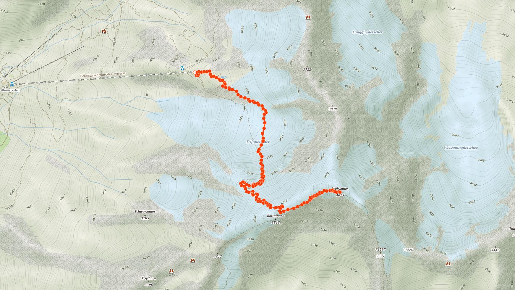 Normální výstupová trasa na Weissmies ve Švýcarsku