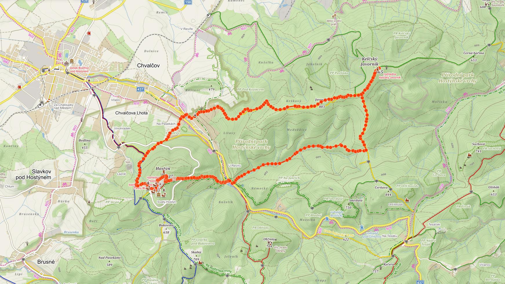 Mapa výletu na Hostýn a Kelčský Javorník