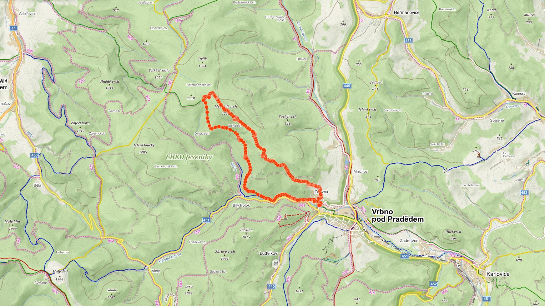 Mapa výletu na Pytlák a Medvědí vrch v Hrubém Jeseníku