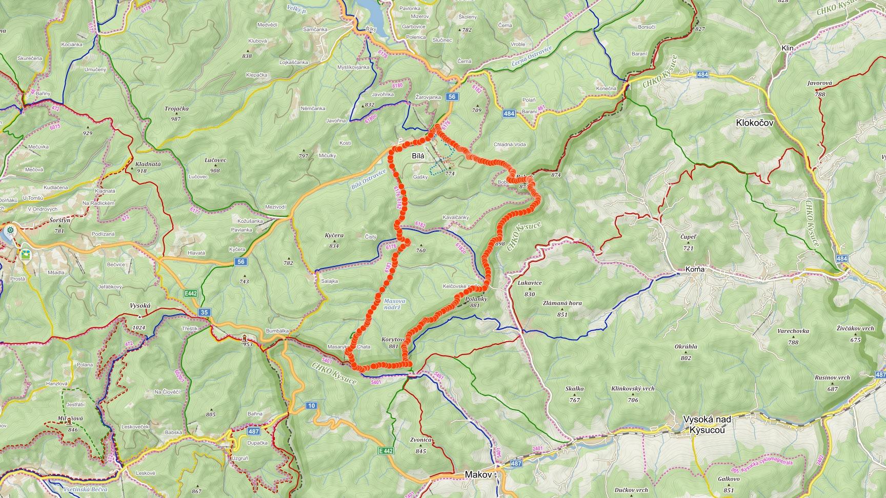 Mapa výletu z Bílé přes Bobek, Lukavici a Korytovo v Beskydech