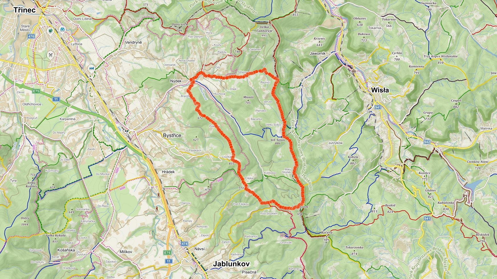 Mapa výletu přes Loučku, Filipku, Stožek a Velký Sošov v Beskydech