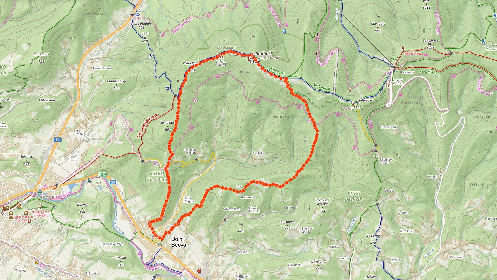 Mapa výletu na Radhošť v Beskydech