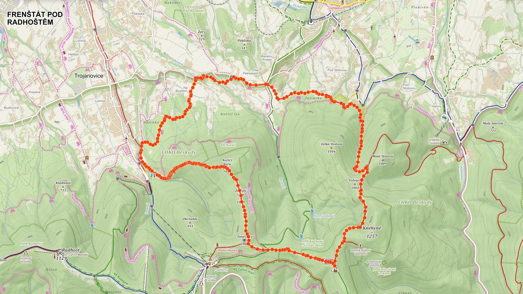 Mapa výletu na Nořičí horu a Čertův mlýn v Beskydech