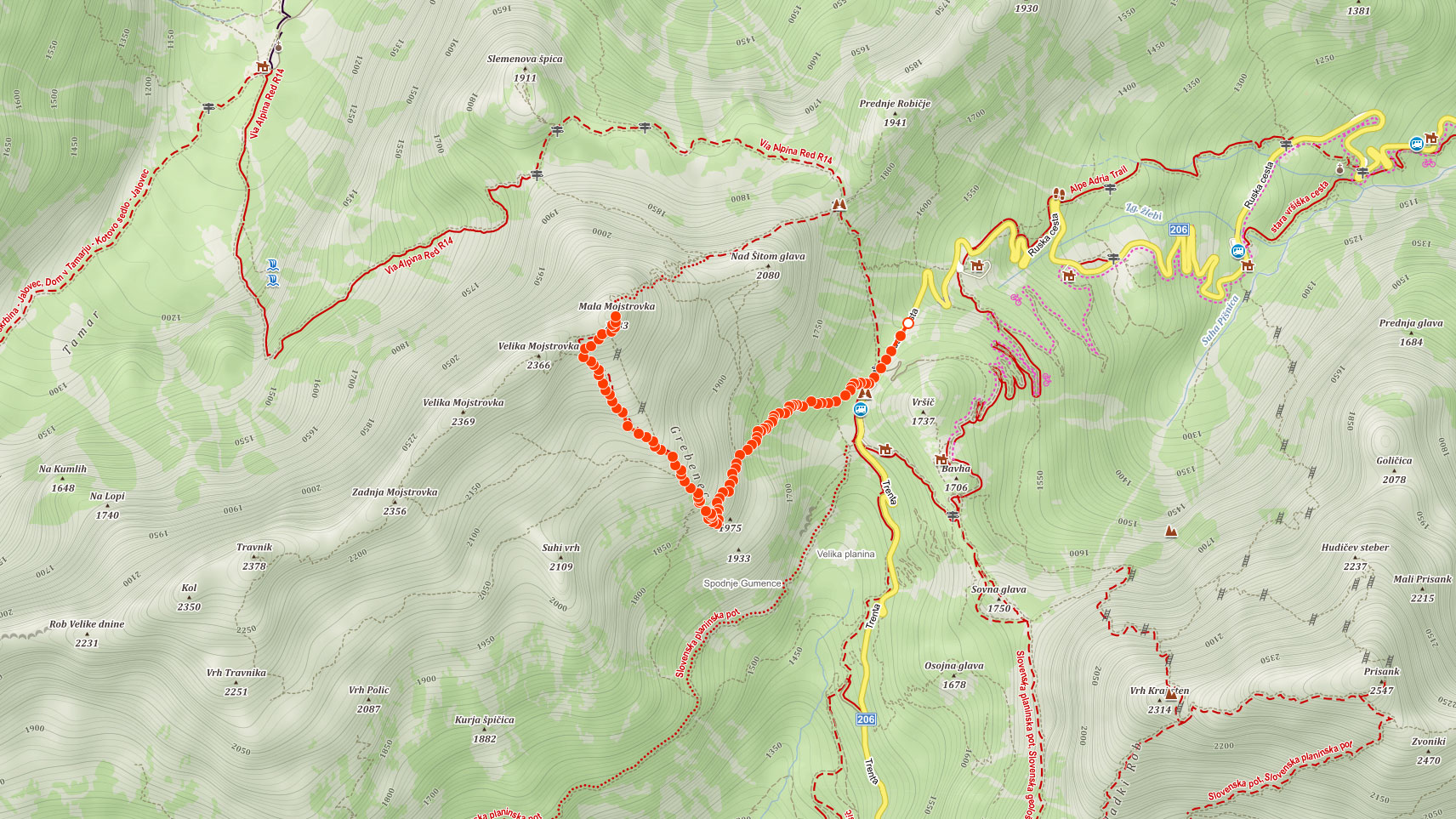 Mapa výletu na Malou Mojstrovku ve Slovinsku