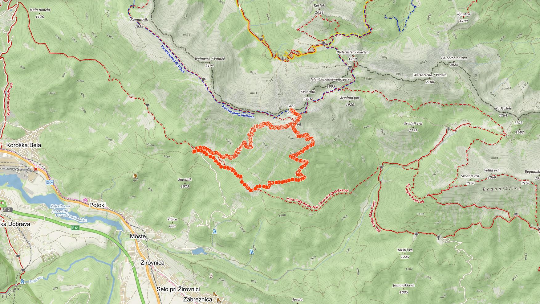 Mapa výletu na Stol ve Slovinsku