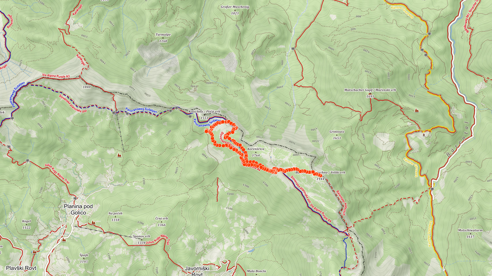 Mapa výletu na Strušku ve Slovinsku