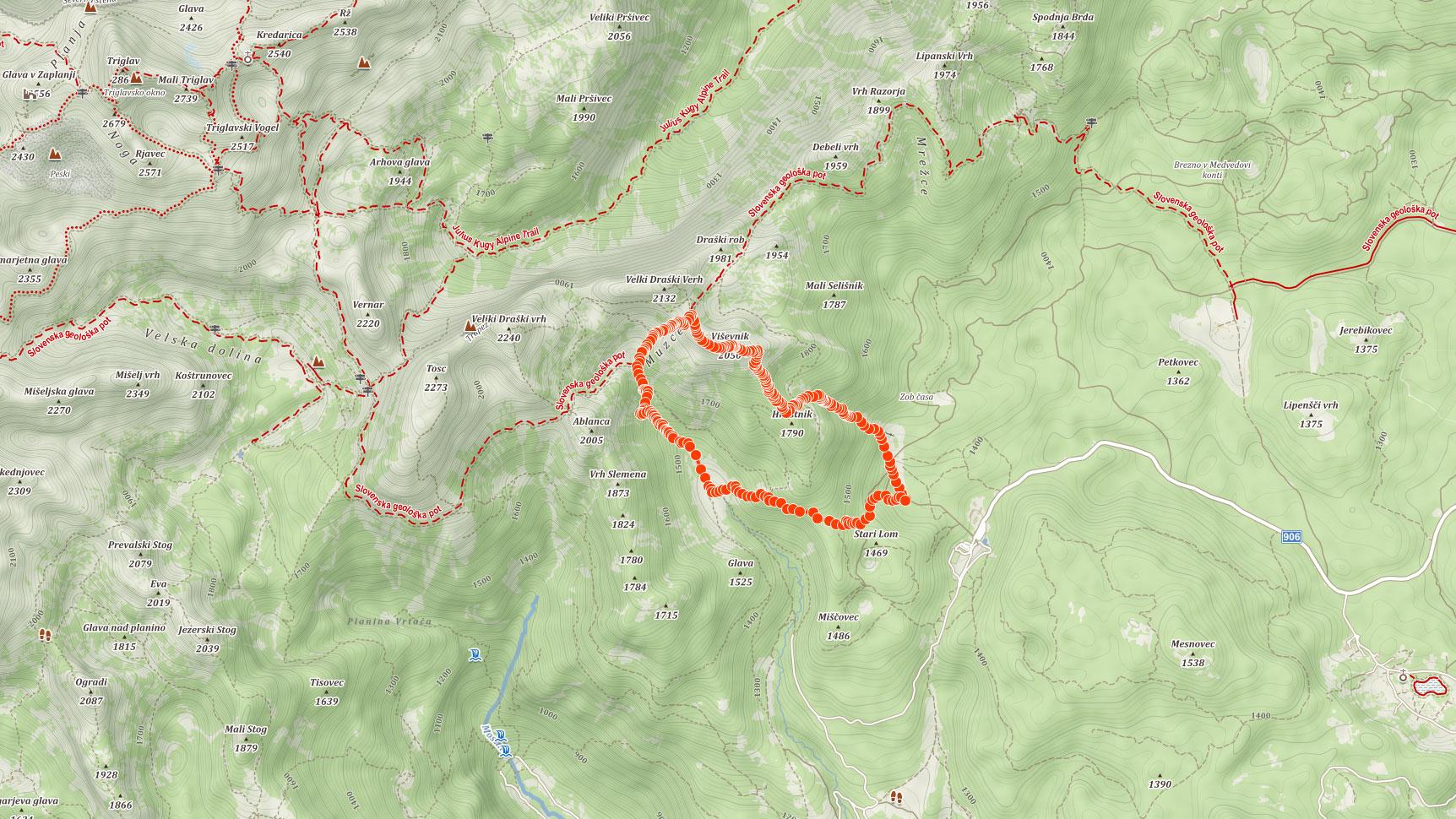 Mapa výletu na Viševnik v Julských Alpách ve Slovinsku